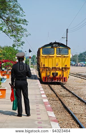 The Thailand Train Are Running On The Rail Way