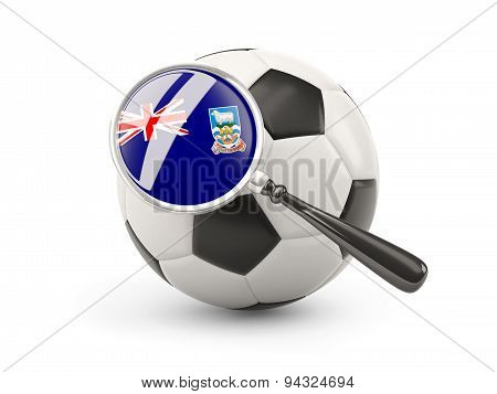 Football With Magnified Flag Of Falkland Islands