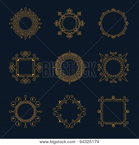 Vector Swirl Frames, Set Of Retro Logos.