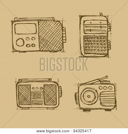 Hand Drawn Radio Set On The Brown Background.
