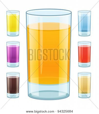 Glass with fresh fruity juice. Eps10 vector illustration. Isolated on white background