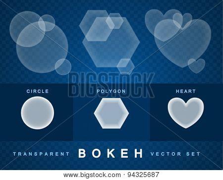 Set of transparent bokeh forms effect. Eps10 vector illustration