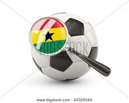Football With Magnified Flag Of Ghana