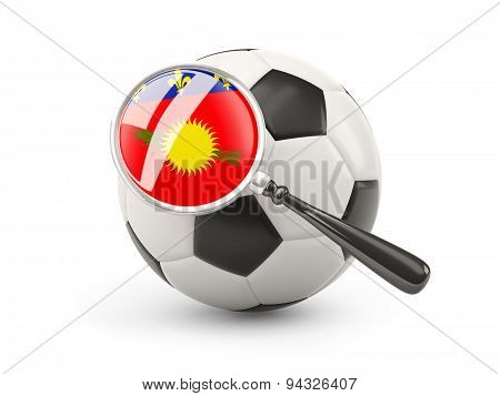Football With Magnified Flag Of Guadeloupe