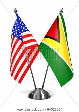 USA and Guyana - Miniature Flags.