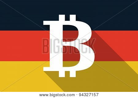 Germany  Long Shadow Flag With A Bit Coin Sign