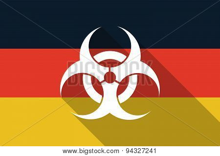 Germany Long Shadow Flag With A Biohazard Sign