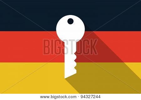 Germany Long Shadow Flag With A Key