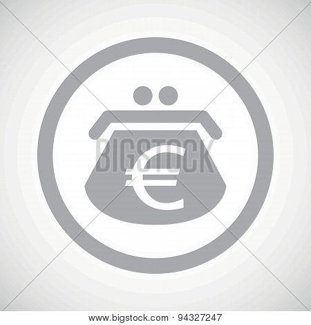 Grey euro purse sign icon