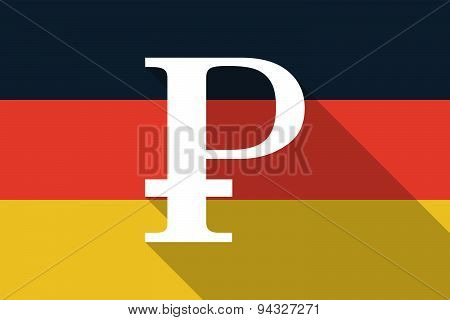 Germany Long Shadow Flag With A Ruble Sign