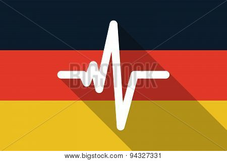 Germany Long Shadow Flag With A Heart Beat Sign