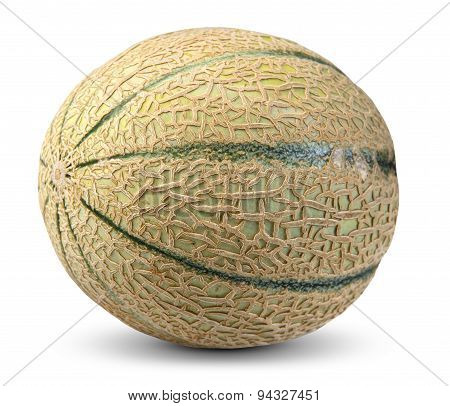 Cantaloupe Melon Fruit Isolated On White Background