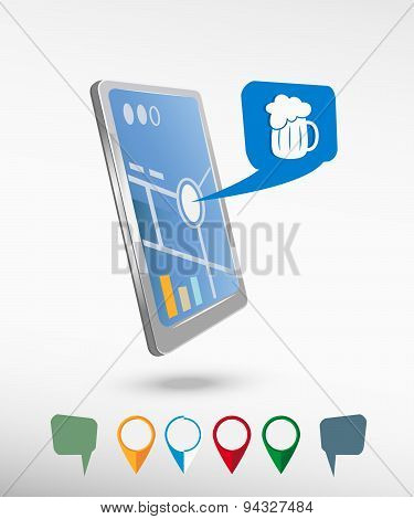 Beer Mug Icon And Perspective Smartphone Vector Realistic