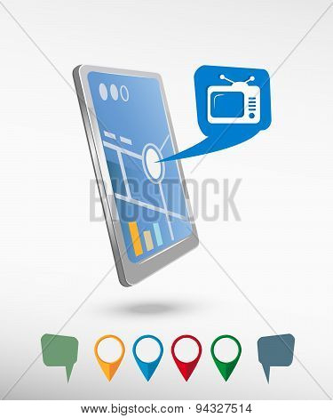 Televise And Perspective Smartphone Vector Realistic