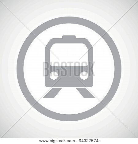 Grey train sign icon