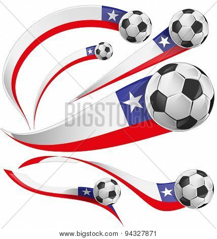 Chile Flag  With Soccer Ball Isolated