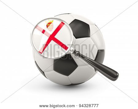 Football With Magnified Flag Of Jersey