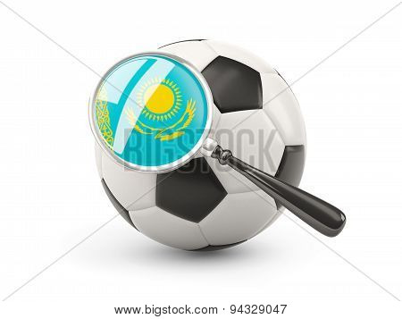 Football With Magnified Flag Of Kazakhstan