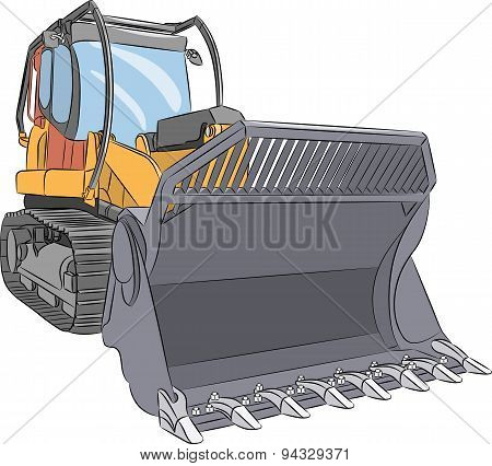 Vector. Heavy Bulldozer.