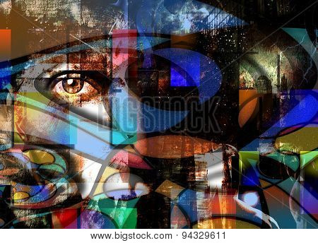Eye Peers out from Abstract