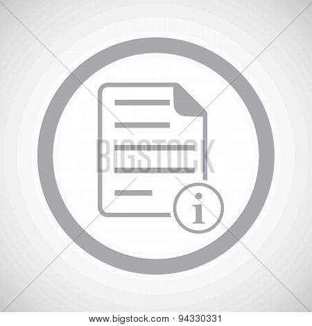Grey information document sign icon