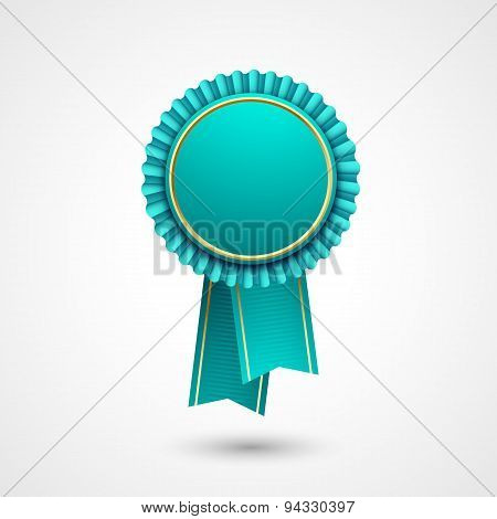 Blue and gold badge with ribbons award, vector illustration.