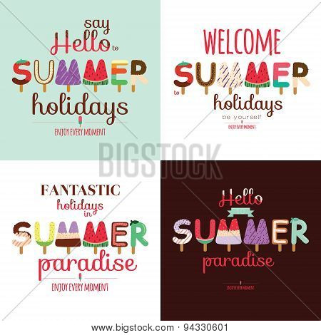 Summer background with ice cream typography