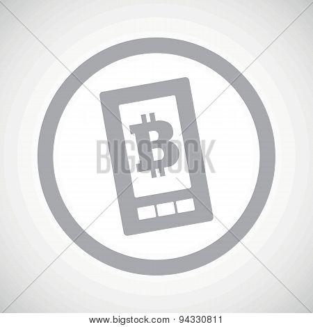 Grey bitcoin screen sign icon