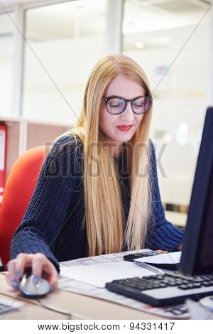 business woman working on computer at modern office