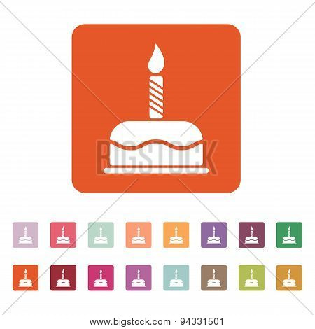 The Birthday Cake With Candles Icon. Dessert Symbol. Flat