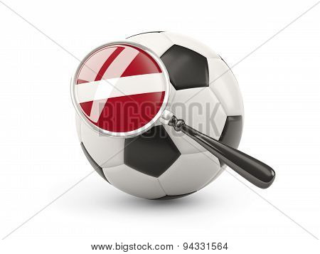 Football With Magnified Flag Of Latvia