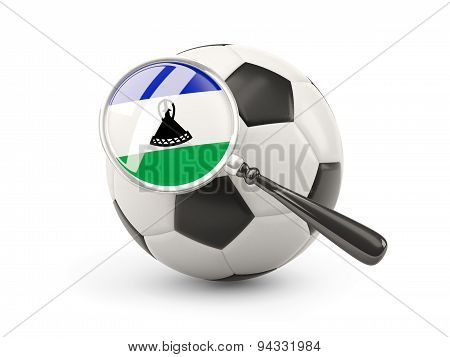 Football With Magnified Flag Of Lesotho