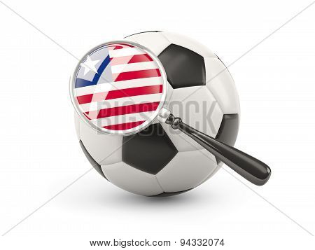 Football With Magnified Flag Of Liberia