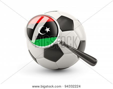 Football With Magnified Flag Of Libya