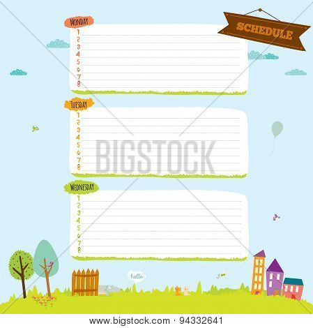 School design for notebook, diary, organizers