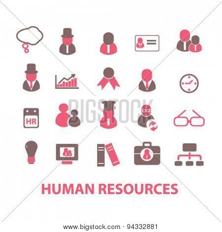 human resources, organization isolated icons, signs, illustrations, vector for internet, website, mobile application on white background