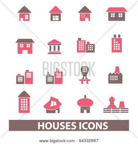 houses, buildings isolated icons, signs, illustrations, vector for internet, website, mobile application on white background