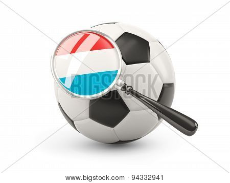 Football With Magnified Flag Of Luxembourg