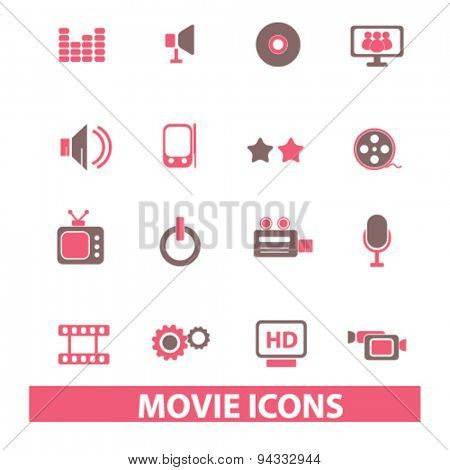 movie, cinema isolated icons, signs, illustrations, vector for internet, website, mobile application on white background