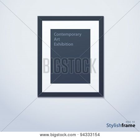 Stylish black photoframe with mount. Vector illustration
