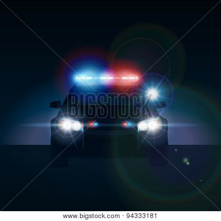 Police car at night. Realistic vector illusration