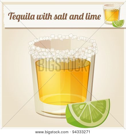 Tequila with salt and lime. Detailed Vector Icon