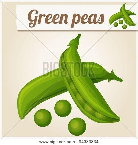Green peas. Detailed Vector Icon