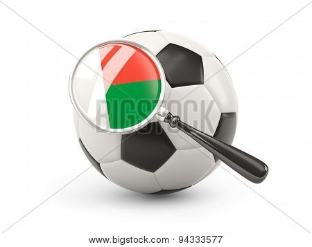 Football With Magnified Flag Of Madagascar