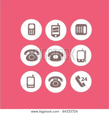 phone, smartphone, call service isolated icons, signs, illustrations, vector for internet, website, mobile application on white background