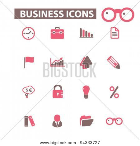 business, management isolated icons, signs, illustrations, vector for internet, website, mobile application on white background