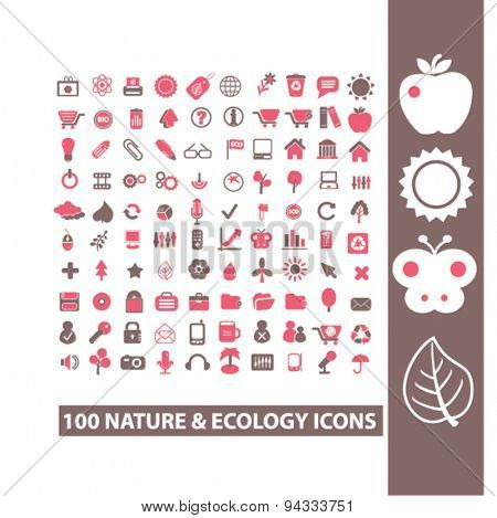 nature, ecology, environment isolated icons, signs, illustrations for web, internet, mobile application, vector