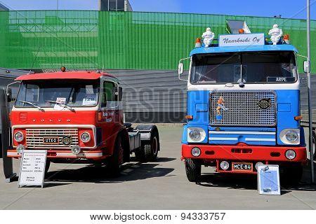 Two Classic Volvo Trucks At Logistics Transport 2015