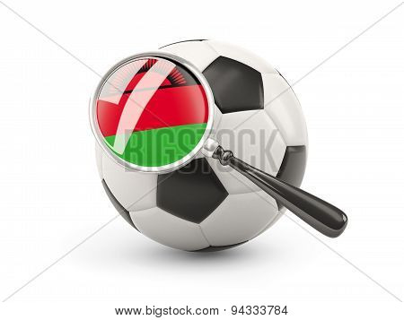 Football With Magnified Flag Of Malawi