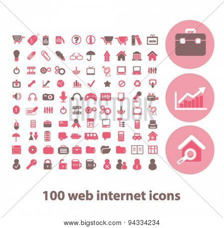 100 web, internet, business, presentation isolated icons, signs, illustrations for web, internet, mobile application, vector